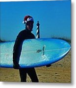 Surfing Santa Cape Hatteras Lighthouse 3 12/19 Metal Print