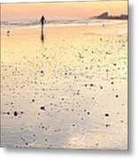 Surfing Sunset Metal Print