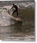 Surfing The Bricks Metal Print