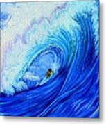 Surfing The Wild Wave Metal Print