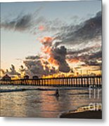 Surfs Up On A Sunset Metal Print