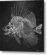 Surgeonfish Skeleton In Silver On Black  Metal Print