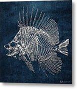 Surgeonfish Skeleton In Silver On Blue  Metal Print