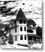 Surreal Black White Mackinac Island Michigan Infrared Victorian Home Metal Print