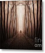 Surreal Dark Forest With Man Walking Trough Trees Metal Print