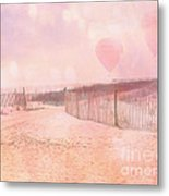 Surreal Dreamy Pink Coastal Summer Beach Ocean With Balloons Metal Print