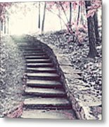 Surreal Fantasy Fairytale Pink Trees And Ethereal Woodlands Staircase  Metal Print by Kathy Fornal