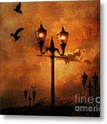 Surreal Fantasy Gothic Night Lanterns Ravens  Metal Print