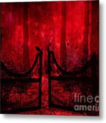 Surreal Fantasy Gothic Red Forest Crow On Gate Metal Print