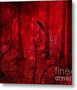 Surreal Fantasy Gothic Red Woodlands Raven Trees Metal Print