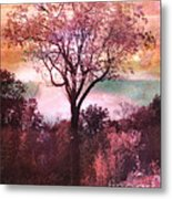 Surreal Fantasy Nature Tree Pink Landscape Metal Print by Kathy Fornal