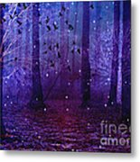 Surreal Fantasy Starry Night Purple Woodlands - Purple Blue Fantasy Nature Fairy Lights  Metal Print