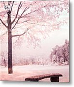 Surreal Infrared Dreamy Pink And White Park Bench Tree Nature Landscape Metal Print