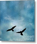 Surreal Ravens Crows Flying Blue Sky Stars Metal Print