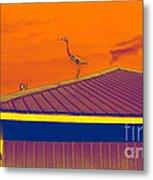 Surrealist Heron Metal Print
