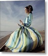 Editha Dussler Posing On A Beach Metal Print
