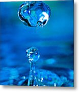 Suspended Drop In Blue Metal Print