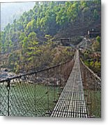 Suspension Bridge Over The Seti River In Nepal Metal Print