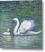 Swan And One Baby Metal Print
