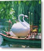 Swan Boats In A Lake, Boston Common Metal Print