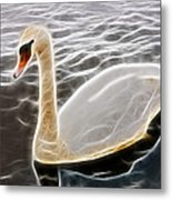 Swan In The Water Fractal Metal Print
