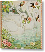 Swan Romance Metal Print