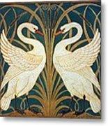 Swan Rush And Iris Metal Print
