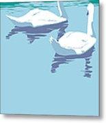 Abstract Swans Bird Lake Pop Art Nouveau Retro 80s 1980s Landscape Stylized Large Painting  Metal Print