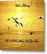 Swans Flying Over The Water Metal Print
