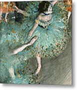 Swaying Dancer .dancer In Green Metal Print