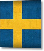 Sweden Flag Vintage Distressed Finish Metal Print