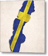 Sweden Map Art With Flag Design Metal Print