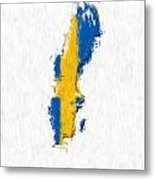 Sweden Painted Flag Map Metal Print
