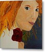 Sweet Lady Holding A Rose Metal Print