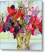 Sweet Peas In A Vase Metal Print