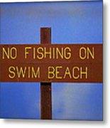 Swim Beach Sign II Metal Print