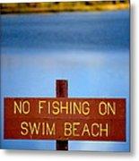Swim Beach Sign L Metal Print