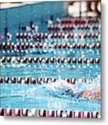 Swimmer In A Sport Pool Metal Print