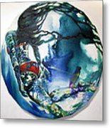 Swimmer In Red Metal Print