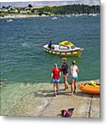 Swimmers On The Slipway - St Mawes Metal Print