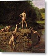 Swimming Metal Print by Thomas Eakins