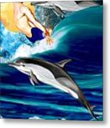 Swimming With Dolphins Metal Print