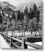Swinging Bridge In Winter Metal Print