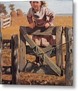 Swinging On A Gate Metal Print