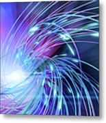 Swirl Of Lines With Glowing Ends Metal Print