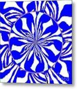 Swirling Blue Zebra Kaleidoscope  Metal Print
