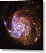 Swirling Red Galaxy Metal Print