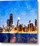 Swirly Chicago At Night Metal Print