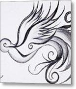 Swirly Sparrow Metal Print