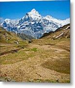 Swiss Alps - Schreckhorn And Valley Metal Print